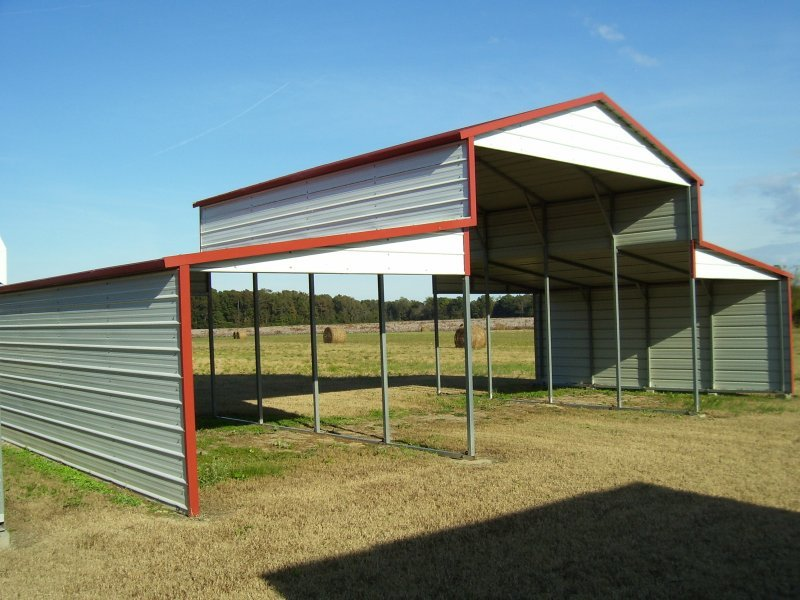 Metal Barn Shelters : Metal barn structure boxed eave roof w l h