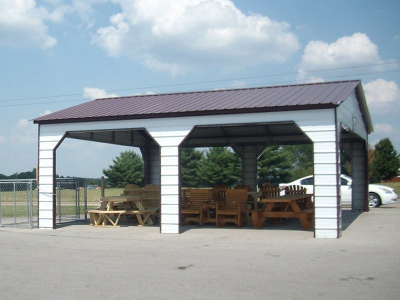 Vertical roof 24w x 26l x 9h pavilion carport with side entry
