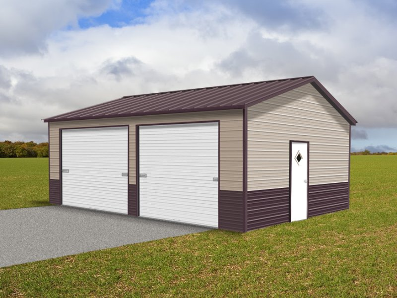 Metal Garage Vertical Roof 22w X 26l X 9h Side Entry