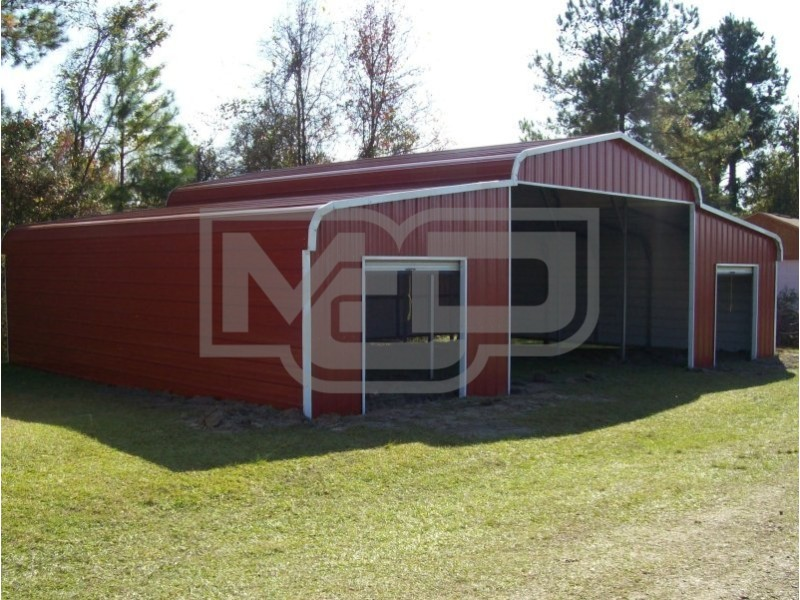 Steel Barn Shelter | Regular Roof | 42W x 26L x 9H | Metal Shelter