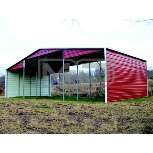 Metal Barn Shelter | Boxed Eave Roof | 44W x 21L x 12H | Continuous Roof