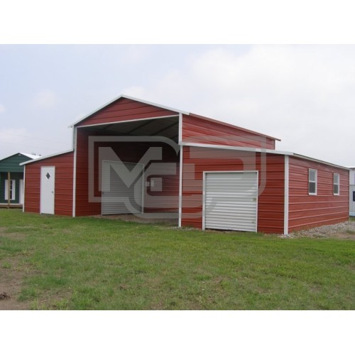 Metal Barn | Boxed Eave Roof | 42W x 31L x 12H | Raised Center Aisle