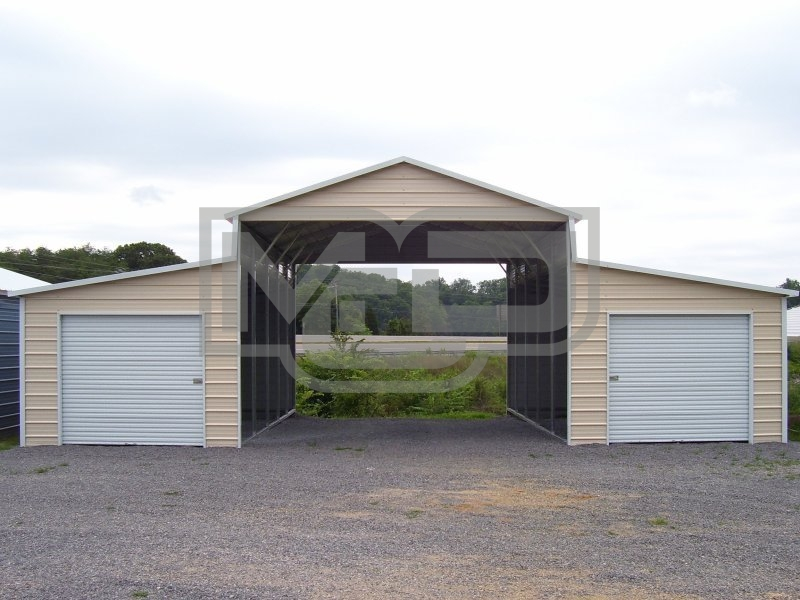 Metal Carolina Barn | Boxed Eave Roof | 42W x 26L x 12H | Raised Center Aisle