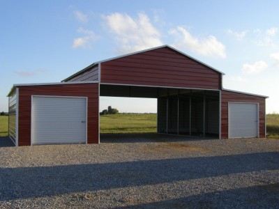 Carolina Style Barn | Boxed Eave Roof | 48W x 26L x 12H | Raised Center Aisle