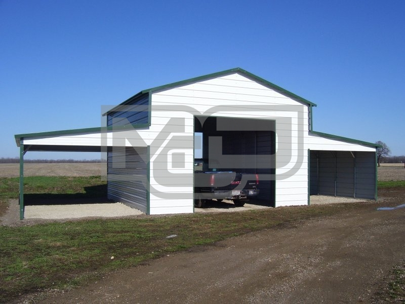 Raised Center Aisle Barn | Vertical Roof | 42W x 26L x 12H | Metal Shelter