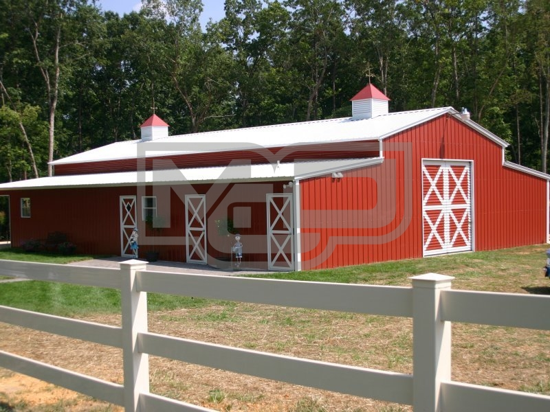 Enclosed Metal Barn | Vertical Roof | 44W x 41L x 12H | Carolina Barn
