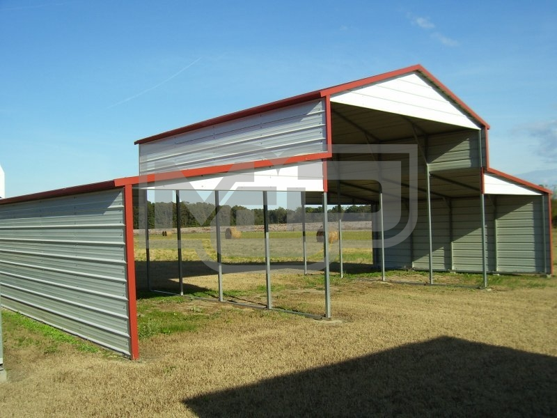 Metal Barn Structure | Boxed Eave Roof | 44W x 21L x 12H | Barn Shelter