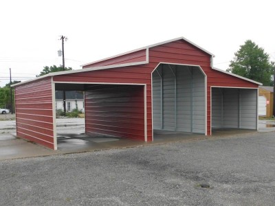Metal Horse Barn | Boxed Eave Roof | 36W x 26L x 12H | Raised Center Barn
