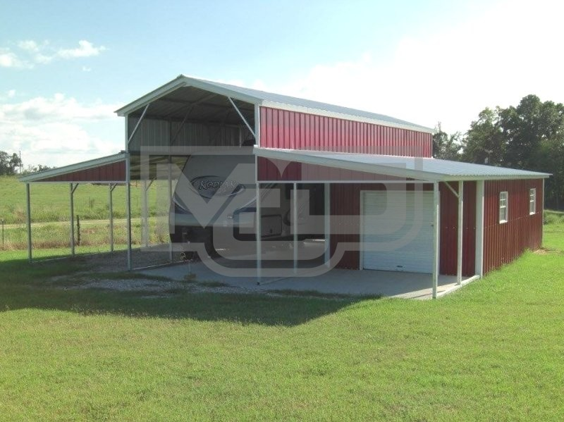 Metal Barn RV Shelter | Vertical Roof | 36W x 31L x 12H |  Metal Barn