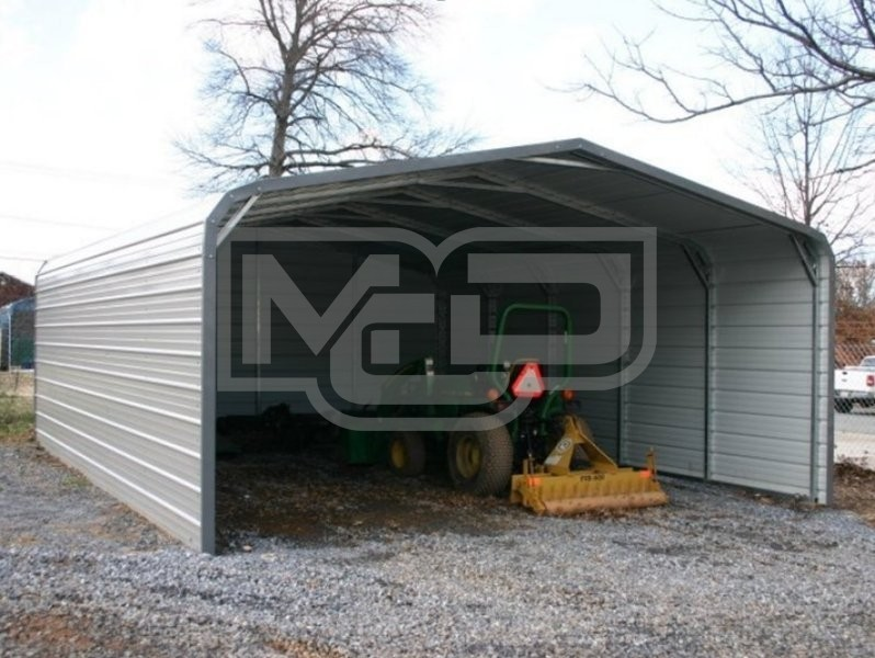 Carport regular roof 18w x 21l x 6h both sides closed back