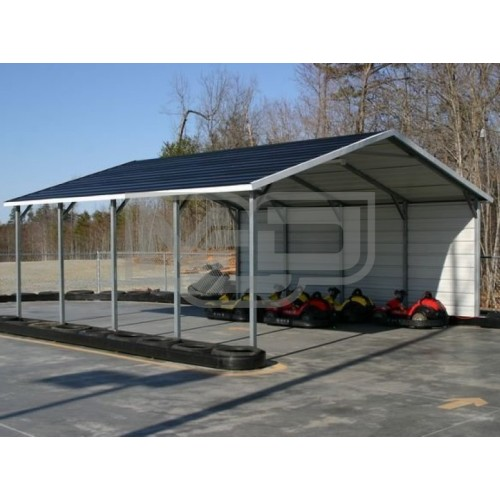 Carport | Boxed Eave Roof | 20W x 21L x 7H | 1 Side Closed