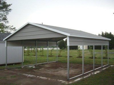 Carport | Boxed Eave Roof | 20W x 21L x 7H | 2 Panels | 2 Gables