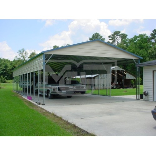 Carport | Vertical Roof | 24W x 61L x 10H | 2 Panels | 2 Gables
