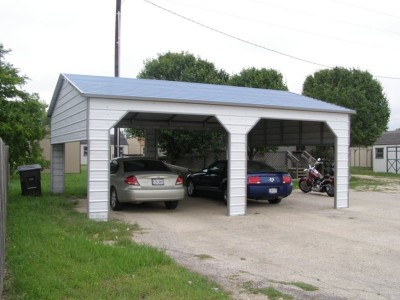 Carport | Boxed Eave Roof | 22W x 26L x 9H` | 2 Extended Gables | Side Entry
