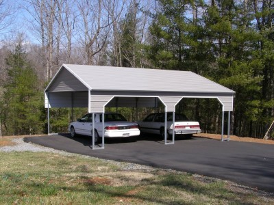 Carport | Boxed Eave Roof | 22W x 26L x 8H` | 2 Gables | 2 3' Panels