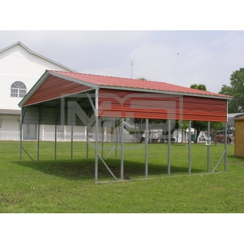 Carport | Vertical Roof | 26W x 21L x 10H Triple-Wide