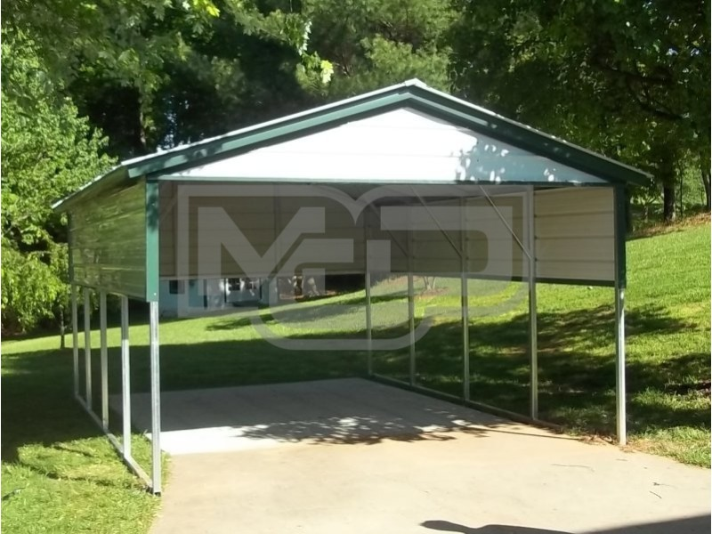 Carport | Vertical Roof | 12W x 21L x 7H | 2 Gables | 2 Panels