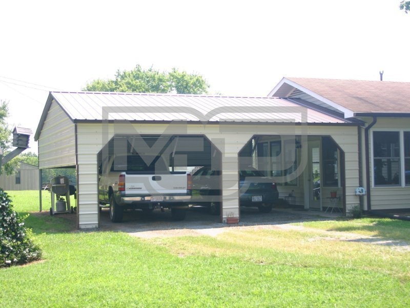 Carport | Vertical Roof | 24W x 26L x 8H | 1 Extended Gable | More
