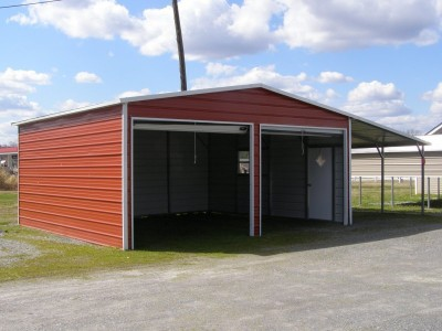 Garage | Boxed Eave Roof | 20W x 26L x 9H |  Metal Garage with Lean-to
