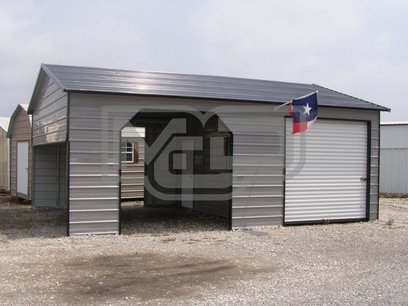 Garage | Boxed Eave Roof | 22W x 31L x 9H |  Metal Garage Shelter