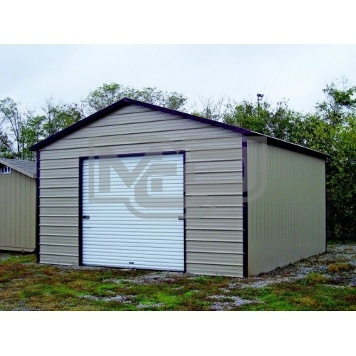 Garage | Boxed Eave Roof | 18W x 26L x 9H |  1-Car Metal Garage