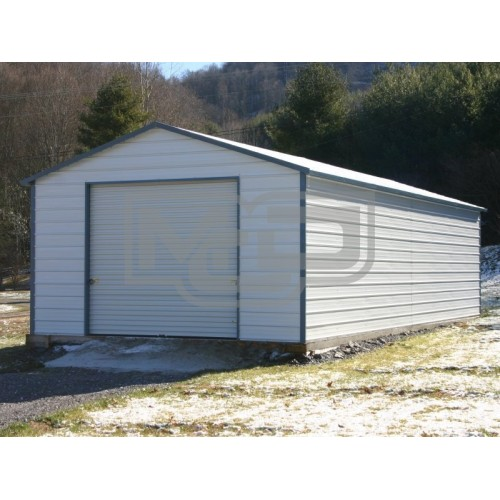 Garage | Boxed Eave Roof | 18W x 26L x 8H |  Single Car Metal Garage