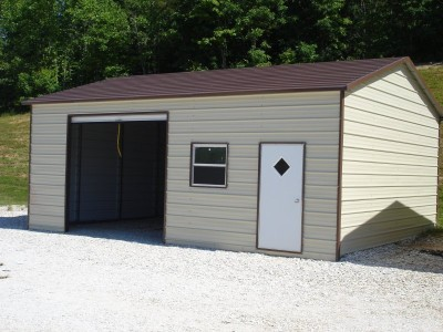 Garage | Boxed Eave Roof | 22W x 26L x 9H | Side Entry Metal Garage