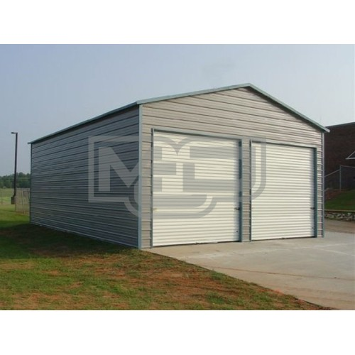Garage | Boxed Eave Roof | 22W x 26L x 9H | Steel Garage Two Cars