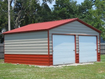 Garage | Vertical Roof | 20W x 21L x 9H | 2-Car Steel Garage