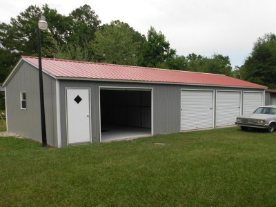 Metal Workshop Building | Vertical Roof | 24W x 51L x 9H |  Garage