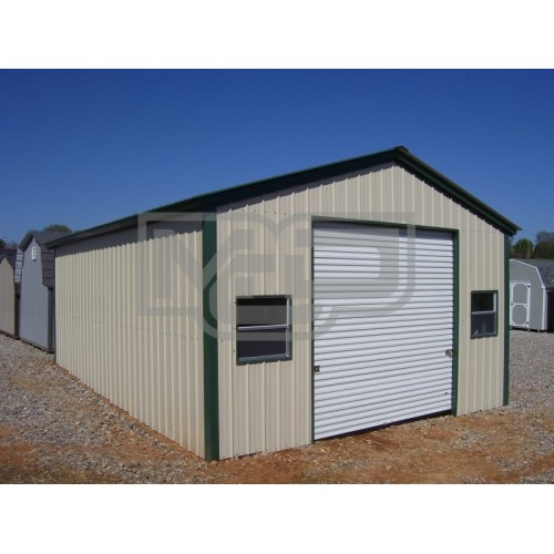 Single Car Garage | Vertical Roof | 18W x 26L x 10H | Metal Garage