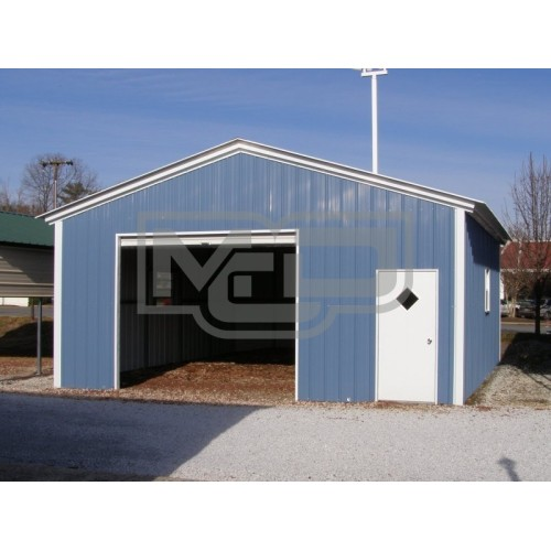 1-Car Metal Garage | Vertical Roof | 20W x 21L x 9H | Enclosed Garage