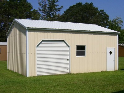 Side Entry Metal Garage | Vertical Roof | 22W x 26L x 10H |  Enclosed Garage