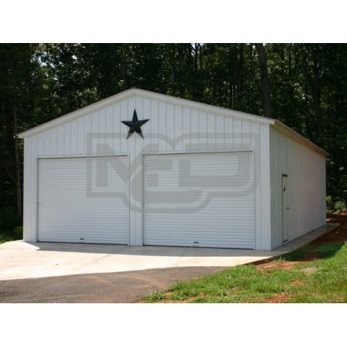 2-Car Garage | Vertical Roof | 24W x 31L x 10H | Metal Garage