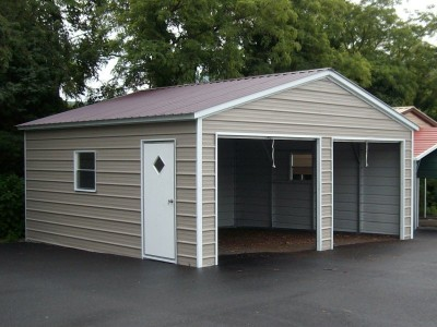2-Bay Garage | Vertical Roof | 18W x 21L x 7H |  Enclosed Garage
