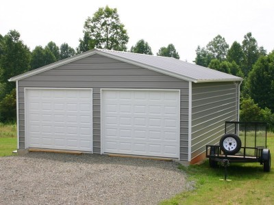 Garage | Vertical Roof | 22W x 26L x 9H | 2-Bay Metal Garage