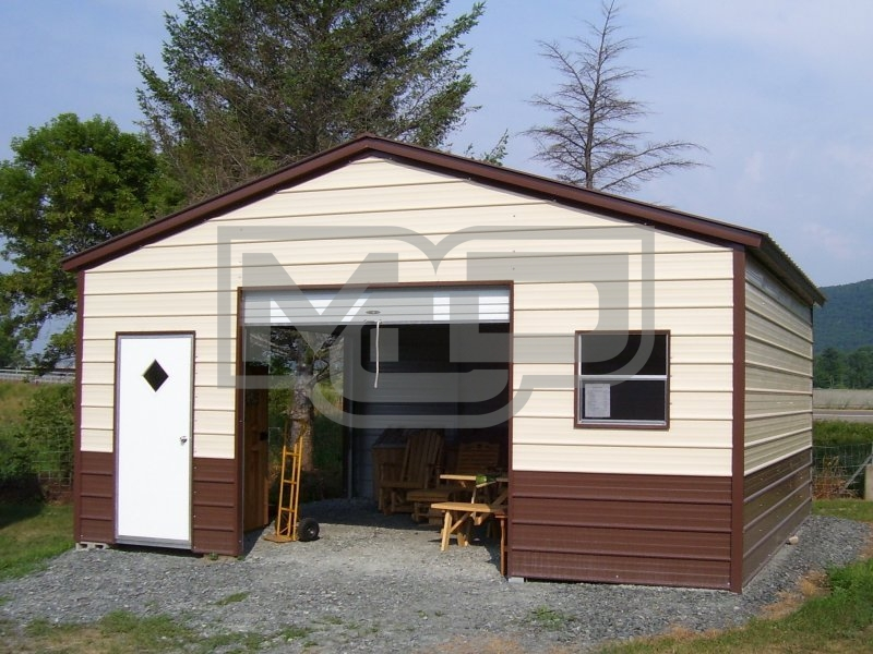 Metal Storage Building | Vertical Roof | 22W x 21L x 8H | Enclosed Garage