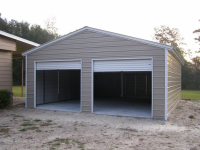 2-Car Metal Garage Building | Vertical Roof | 22W x 26L x 9H | Steel Garage