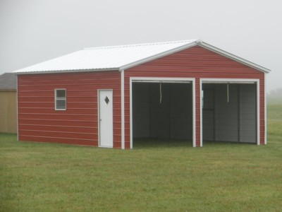 Metal Garage | Vertical Roof | 20W x 26L x 9H | 2-Bay Garage