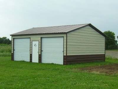 Metal Garage | Vertical Roof | 24W x 26L x 9H | Side Entry