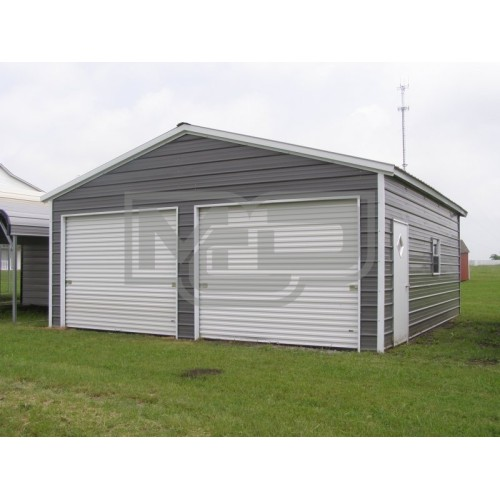 Enclosed Metal Garage | Vertical Roof | 22W x 26L x 9H | 2-Cars