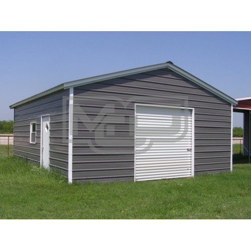 Metal Garage | Vertical Roof | 18W x 29L x 9H | 1-Car Garage