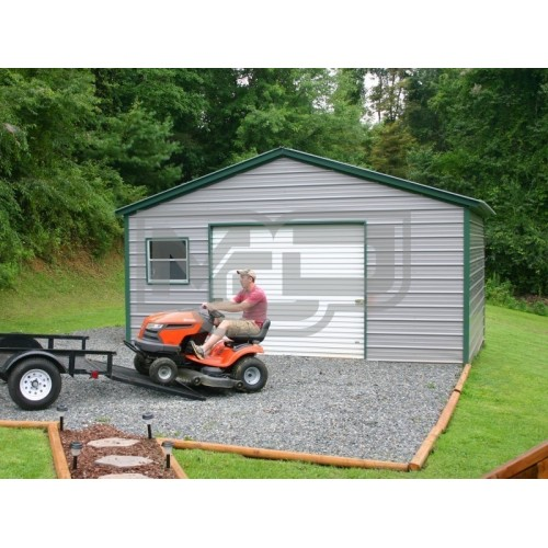 Metal Storage Garage | Vertical Roof | 20W x 21L x 9H | Metal Garage
