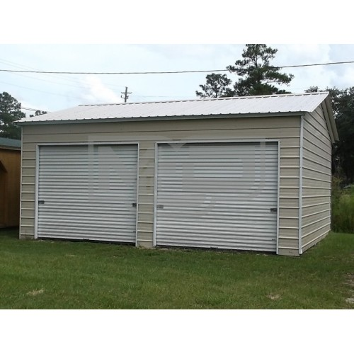 2-Car Garage | Vertical Roof | 20W x 21L x 9H |  Side Entry Metal Garage