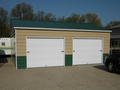 2-Car Enclosed Garage | Vertical Roof | 22W x 26L x 9H | Side Entry