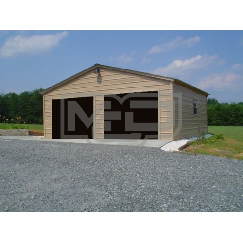 Metal Garage | Vertical Roof | 24W x 26L x 9H | 2-Cars