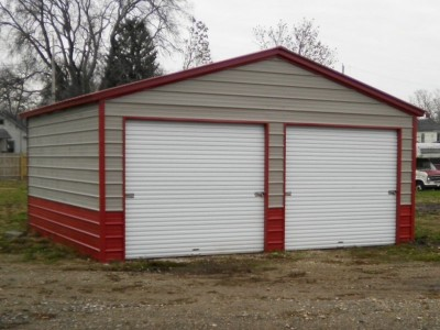 2-Bay Garage | Vertical Roof | 20W x 21L x 9H |  Metal Garage