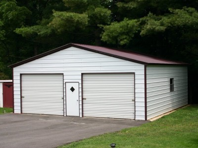 2-Car Garage | Vertical Roof | 24W x 31L x 9H | Metal Garage
