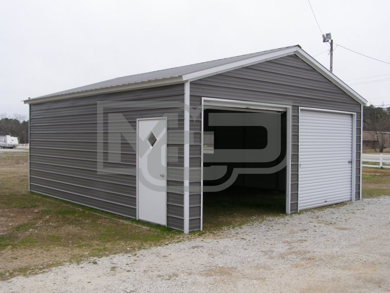 2-Car Garage | Vertical Roof | 20W x 21L x 9H | Metal Garage