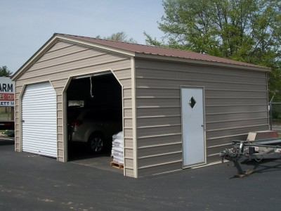 Enclosed Steel Garage | Vertical Roof | 22W x 21L x 9H | 2-Car
